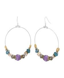 Catherine Malandrino Women's Multicolored Beaded Silver-Tone Hoop Earrings