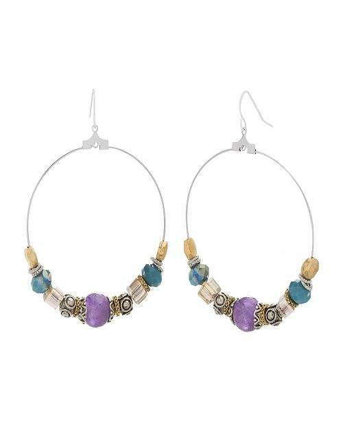 Catherine Malandrino Women's Multicolored Beaded Silver-Tone Hoop Earrings
