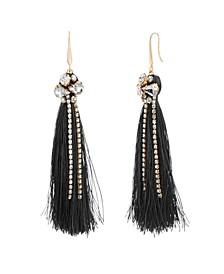 Women's White Toned Jewels Black Tassel Yellow Gold-Tone Hook Earrings