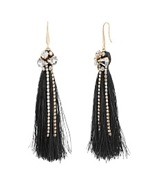 Catherine Malandrino Women's White Toned Jewels Black Tassel Yellow Gold-Tone Hook Earrings