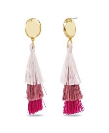 Catherine Malandrino Women's Tiered Pink Tassel Yellow Gold-Tone Drop Earrings