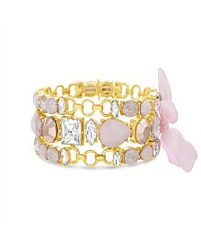 Catherine Malandrino Women's Light Pink Clear And Pastel Pink 3-Row Pink Ribbon Yellow Gold-Tone Trio Link Bracelet Set