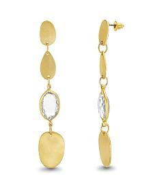 Catherine Malandrino Women's White Rhinestone Flat Oval Yellow Gold-Tone Drop Earrings