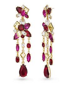 Catherine Malandrino Women's Red And Magenta Rhinestone Yellow Gold-Tone Chandelier Style Earrings