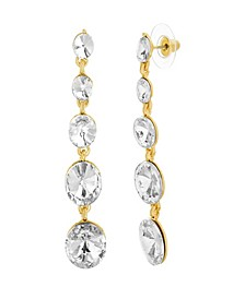 Women's Tiered Round White Rhinestone Link Yellow Gold-Tone Dangle Earrings