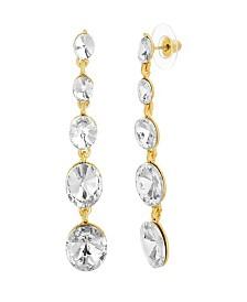 Catherine Malandrino Women's Tiered Round White Rhinestone Link Yellow Gold-Tone Dangle Earrings