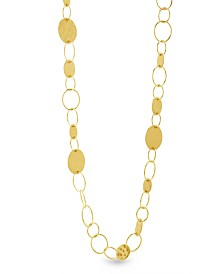 Catherine Malandrino Women's Open And Closed Circle Yellow Gold-Tone Link Necklace