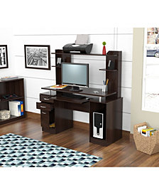 Inval America Credenza/Computer Work Center with Hutch