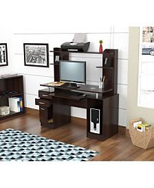 Inval America Credenza/Computer Work Center with Hutch