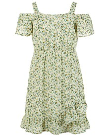 Monteau Big Girls Floral-Print Cold Shoulder Dress