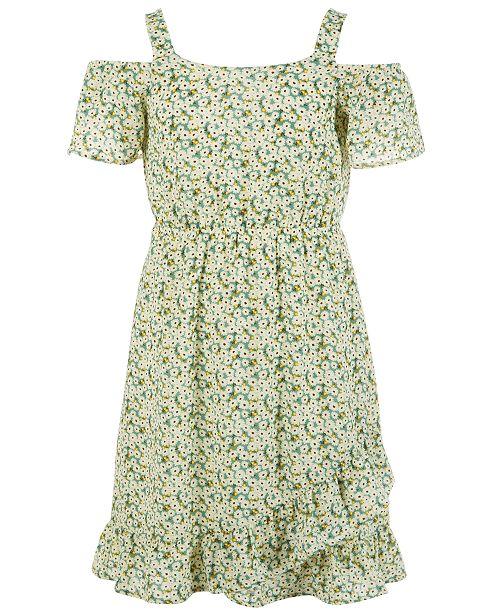 Monteau Big Girls Floral-Print Cold Shoulder Dress