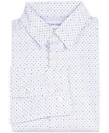 Calvin Klein Big Boys Slim-Fit Stretch Logo Dot-Print Dress Shirt