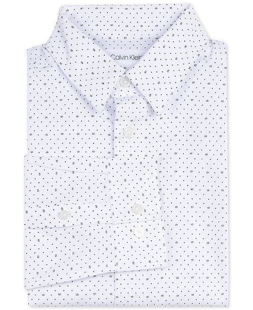 Calvin Klein Big Boys Slim-Fit Stretch Logo Dot-Print Dress Shirt