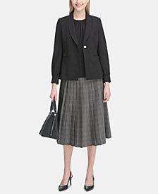 Calvin Klein Shirt-Sleeve Blazer & Plaid Pleated Skirt