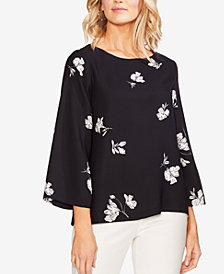 Vince Camuto Floral-Print Boat-Neck Top