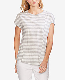 Vince Camuto Cotton Striped Spliced Top