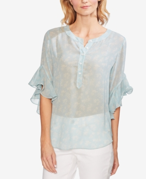 Vince Camuto Tops PRINTED FLUTTER-SLEEVE TOP