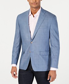 Lauren Ralph Lauren Men's Classic-Fit UltraFlex Stretch Blue Windowpane Sport Coat