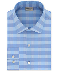 Kenneth Cole Reaction Men's Slim-Fit Performance Stretch Moisture-Wicking Non-Iron Check Dress Shirt