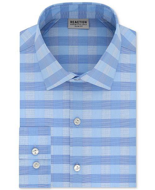 Kenneth Cole Reaction Men S Slim Fit Performance Stretch Check Dress Shirt