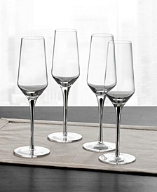 Black Stem Champagne Glasses, Set of 4, Created for Macy's