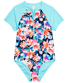 Ideology Big Girls 1-Pc. Floral-Print Rash Guard Swimsuit, Created for Macy's