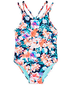 Ideology Little Girls 1-Pc. Floral-Print Swimsuit, Created for Macy's