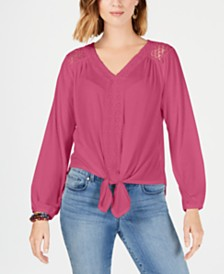 Style & Co V-Neck Tie-Front Top, Created for Macy's