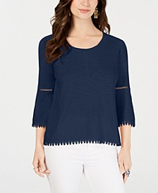 Crochet-Trim Bell-Sleeve Top, Created for Macy's