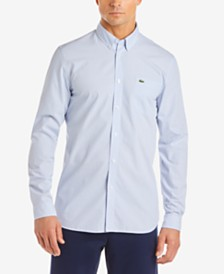 Lacoste Men's Regular-Fit Gingham Poplin Shirt