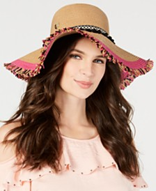 Betsey Johnson Braided Pom Pom Floppy Hat