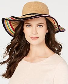 Pom Pom Striped Floppy Hat
