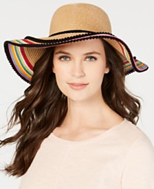 Betsey Johnson Pom Pom Striped Floppy Hat