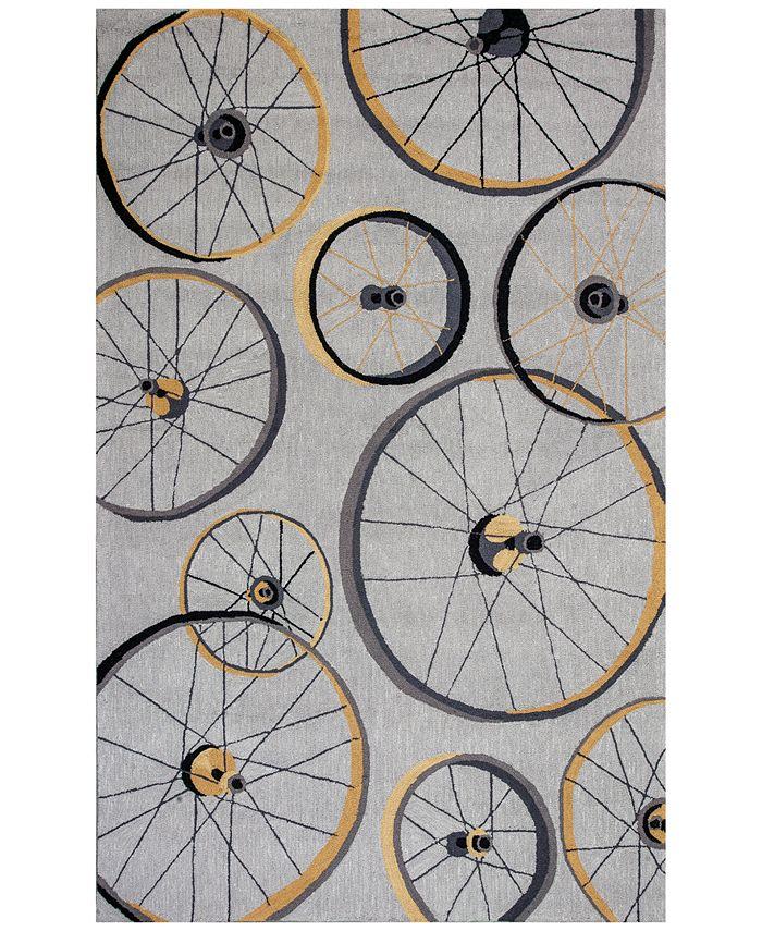 "Kas - Sonesta Wheels In Motion 2035 Gray 5' x 7'6"" Area Rug"