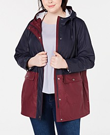 Trendy Plus Size Colorblocked Rain Jacket