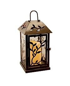 Lumabase Warm Black Vine Metal Lantern with LED Candle