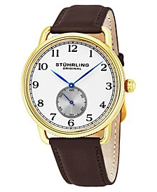 Original Stainless Steel Gold Tone Case on Brown Genuine Leather Strap, Silver Dial, With Black and Blue Accents