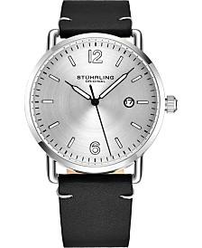 Stuhrling Original Men's Silver Case, Silver Dial, Black Leather Strap Watch