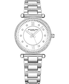 Original Women's Crystal Studded Silver Case and Bracelet, White Dial Watch