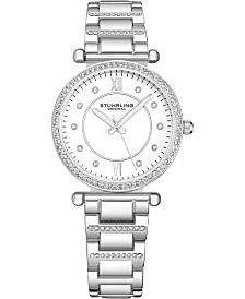 Stuhrling Original Women's Crystal Studded Silver Case and Bracelet, White Dial Watch