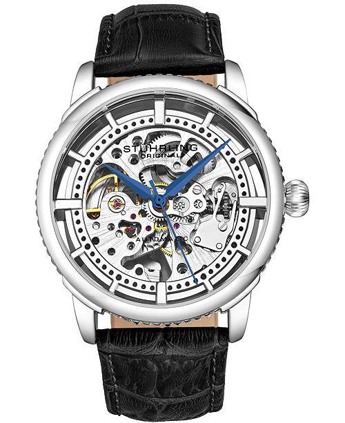 Stuhrling Original Men's Skeleton, Silver Case, Black Leather Strap Watch