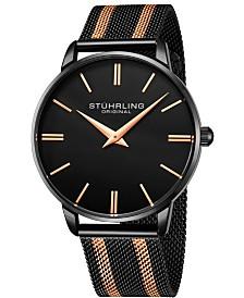 Stuhrling Original Men's Black Dial, Rose Accents, Rose/Black Mesh Bracelet Watch