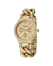 Original Stainless Steel Gold Tone Case on Chain Bracelet, Gold Tone Dial, Swarovski Crystal Studded Bezel, With Gold Tone and White Accents