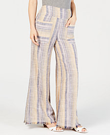 Free People Striped Frayed-Hem Wide-Leg Pants