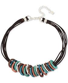 "Robert Lee Morris Soho Silver-Tone Mixed Patina Sculptural Ring Leather Collar Necklace, 17"" + 3"" extender"