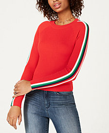 Hippie Rose by Papercut Juniors' Striped-Sleeve Sweater