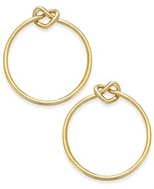 "Gold-Tone Love Knots Large 1-2/3"" Medium Hoop Earrings"