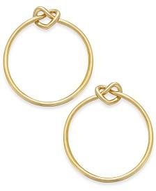 "Kate Spade New York  Gold-Tone Love Knots Large 1-2/3"" Medium Hoop Earrings"