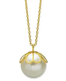 "Gold-Tone Imitation Pearl Pendant Necklace, 24"" + 3"" extender"