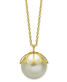 "Kate Spade New York  Gold-Tone Imitation Pearl Pendant Necklace, 24"" + 3"" extender"